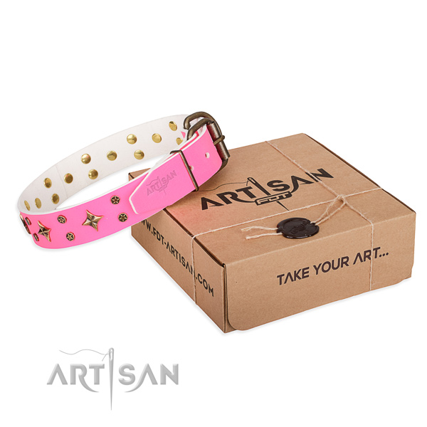 Studded leather dog collar for handy use
