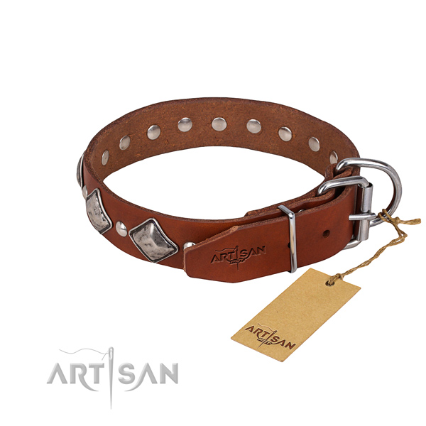 Hardwearing leather dog collar with non-corrosive details