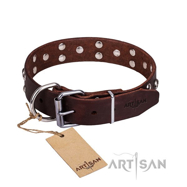 Leather dog collar with rounded edges for comfy everyday outing