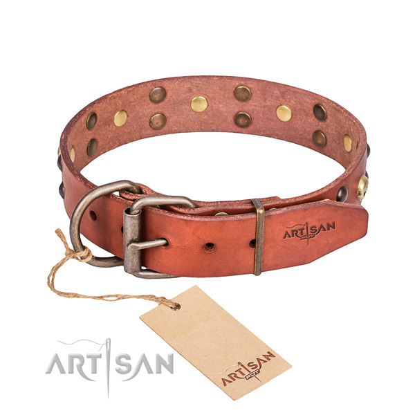 Leather dog collar with smoothed edges for convenient daily wearing