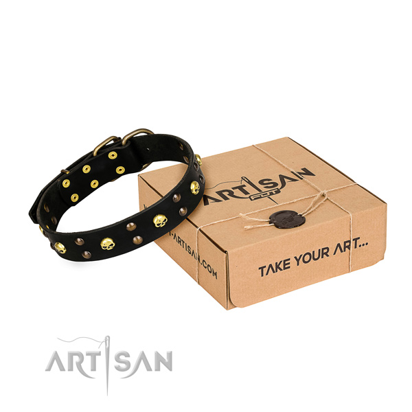 Hardwearing leather dog collar with durable details