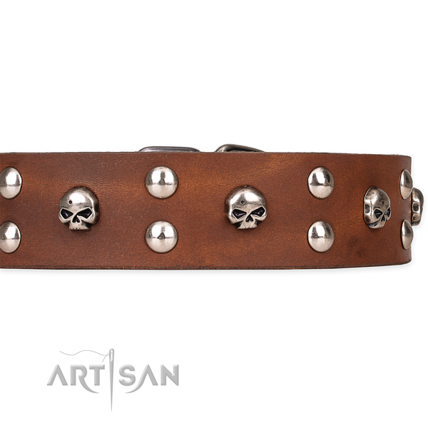 Genuine leather dog collar with smoothly polished exterior