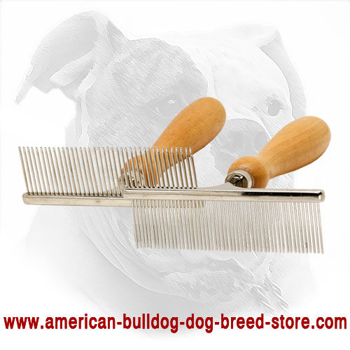 Dog Metal Brush with Wooden Handle for Short-Haired Breeds