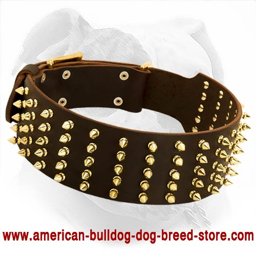 Super Wide Spiked Leather Collar for American Bulldog Walking