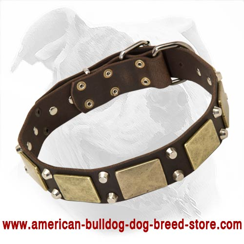Fashion Leather Dog Collar with Large Plates and Pyramids for American Bulldog Walking