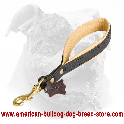 Short Leather Dog Leash for American Bulldog