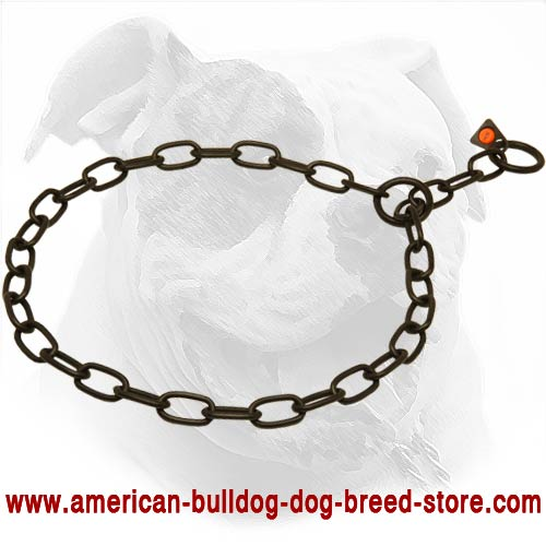 Black Fur Saver Dog Collar for American Bulldog