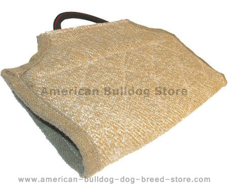 Dog bite developer cuff/cover made of jute with handle.