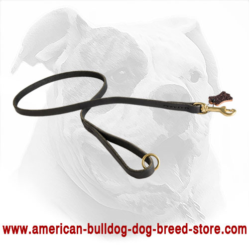 American Bulldog Lead Made of Leather